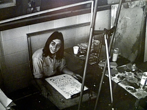 Jon Asher in his painting studio 1970